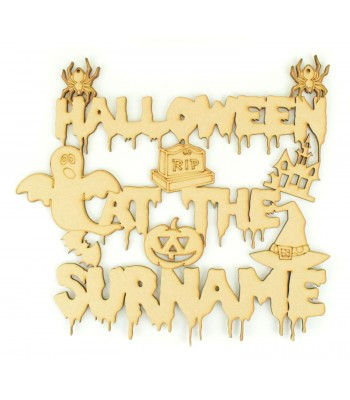 Laser Cut Personalised 'Halloween at the...' Sign with Halloween Shapes
