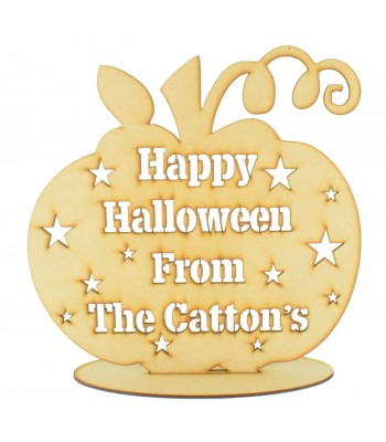 Laser Cut Large Personalised 'Happy Halloween From The...' Pumpkin on a stand