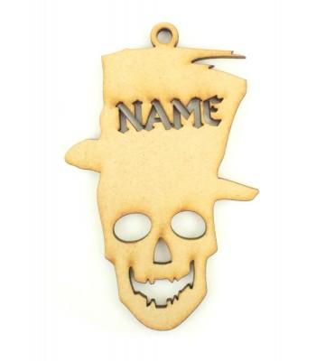 Laser Cut Personalised Halloween Tag/Decoration - Skeleton Head