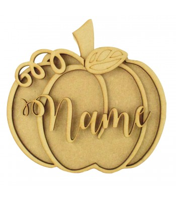18mm Freestanding Pumpkin Shape with 3D Laser Cut Accessories & Name