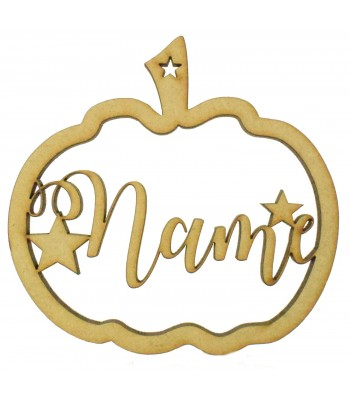 Laser Cut Personalised Hanging Pumpkin Frame Decoration with Stars