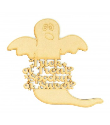 Laser Cut 'Trick or Treat, Spooky or Sweet' Quote Sign in a Ghost Shape