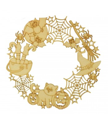 Laser Cut Witch Themed Halloween Shapes Wreath