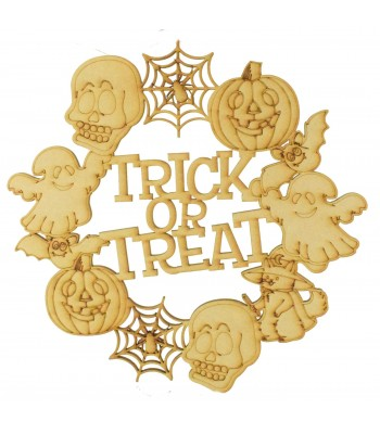 Laser Cut 'Trick or Treat' Halloween Shapes Wreath