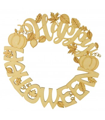Laser Cut 'Happy Halloween' Wording and Leafs Wreath