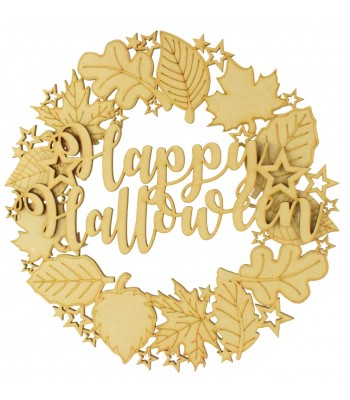 Laser Cut Detailed Autumn Leafs and Stars Wreath with 3D 'Happy Halloween' Sign