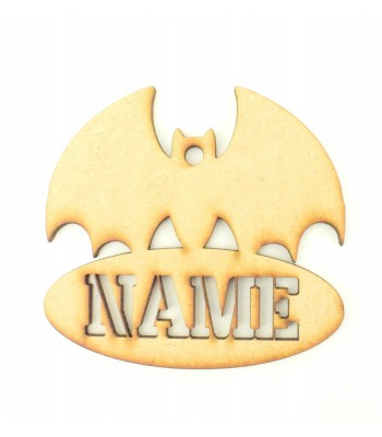 Laser Cut Personalised Halloween Tag/Decoration with Stencil Cut Name - Bat