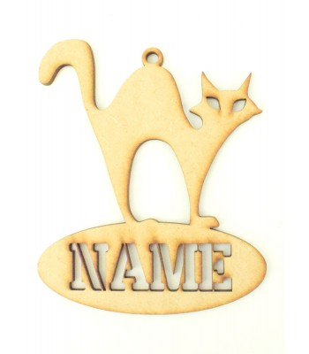 Laser Cut Personalised Halloween Tag/Decoration - Cat