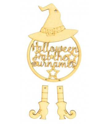 Laser Cut Personalised 'Halloween At The...' Witch Dream Catcher with Hanging Boots
