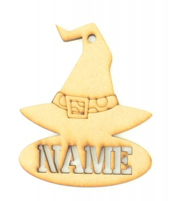 Laser Cut Personalised Halloween Tag/Decoration with Stencil Cut Name - Witches Hat