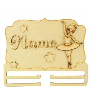 Laser Cut Personalised 3D Large Ballerina Themed Plaque with Bow Rail/Holder