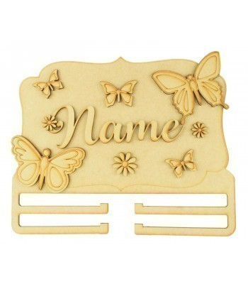 Laser Cut Personalised 3D Large Butterfly Themed Plaque with Bow Rail/Holder