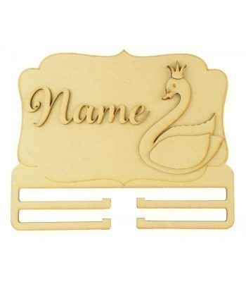 Laser Cut Personalised 3D Large Swan Themed Plaque with Bow Rail/Holder