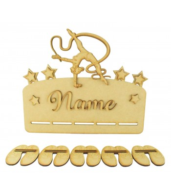 Laser Cut Personalised 3D Large Gymnast Themed Ribbon Plaque with Hanging Shapes