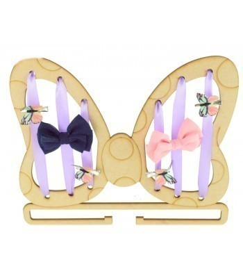 Laser Cut Bow Shape with Ribbon Holes and a Rail For Hair Bows & Headbands