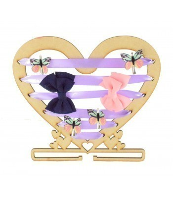 Laser Cut Heart Shape with Ribbon Holes and a Rail For Hair Bows & Headbands