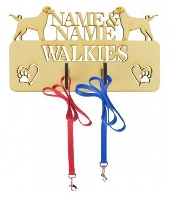 Laser Cut Personalised 'Walkies' Lead Hanger with Two Names - 6MM