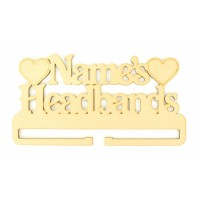 Laser Cut Personalised Large Headband Rail/Holder with Hearts