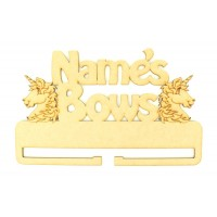 Laser Cut Personalised Large 'Bows' Rail/Holder with Unicorns