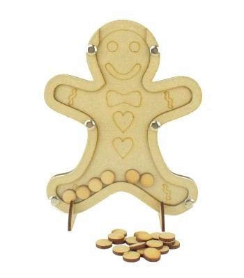 Laser Cut Childrens Gingerbread Christmas Countdown Budget Drop Box - 15mm Plain Tokens