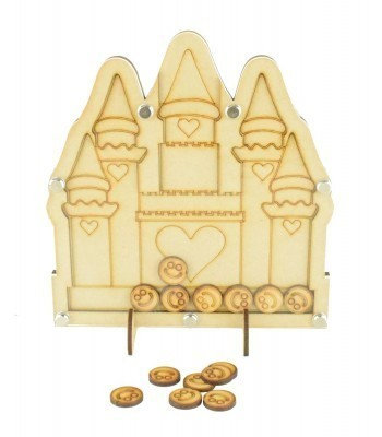 Laser Cut Princess Castle Childrens Budget Reward Chart Drop Box - Smiley Face Tokens