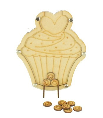 Laser Cut Cupcake Childrens Budget Reward Chart Drop Box - Smiley Face Tokens