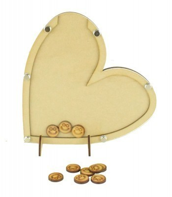 Laser Cut Heart Childrens Budget Reward Chart Drop Box - Smiley Face Tokens