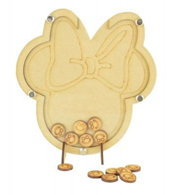 Laser Cut Mouse Head with Bow Childrens Budget Reward Chart Drop Box - Smiley Face Tokens
