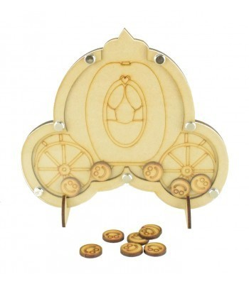 Laser Cut Princess Carriage Childrens Budget Reward Chart Drop Box - Smiley Face Tokens