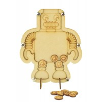 Laser Cut Robot Childrens Budget Reward Chart Drop Box - Smiley Face Tokens