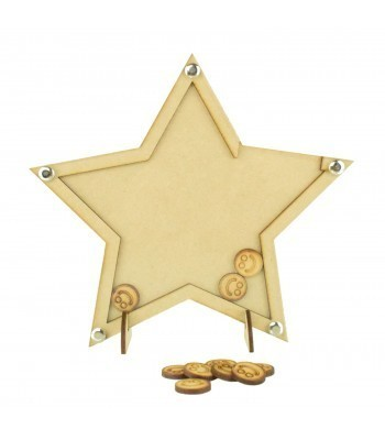 Laser Cut Star Childrens Budget Reward Chart Drop Box - Smiley Face Tokens