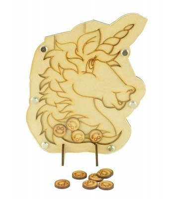Laser Cut Unicorn Childrens Budget Reward Chart Drop Box - Smiley Face Tokens