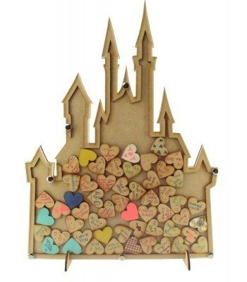 Laser Cut Budget Princess Castle Wedding Drop Box with Heart Tokens