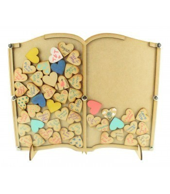 Laser Cut Budget Book Wedding Drop Box with Heart Tokens