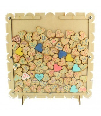 Laser Cut Budget Pattern Frame Wedding Drop Box with Heart Tokens