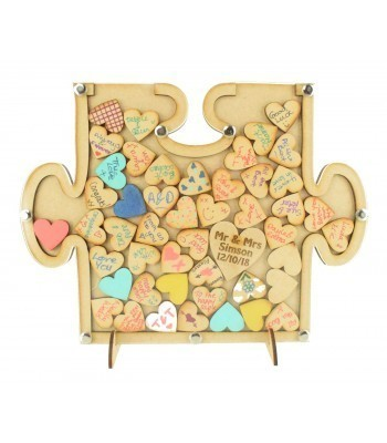 Laser Cut Budget Puzzle Piece Wedding Drop Box with Heart Tokens
