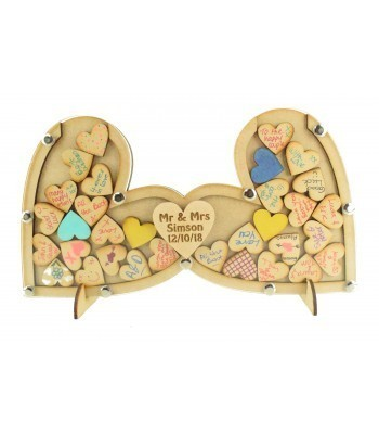 Laser Cut Budget Double Heart Wedding Drop Box with 30mm Heart Tokens