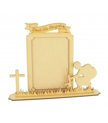 Laser Cut 'Lest We Forget' 3D Remembrance Photo Frame on a stand