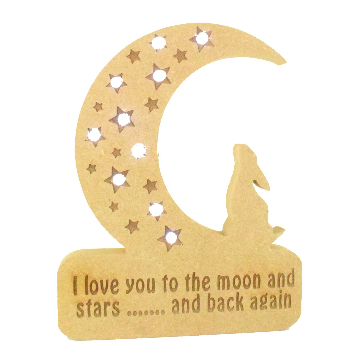 Wooden Laser Cut mdf Craft Sign Blanks I Love You To The Moon And Back Sign