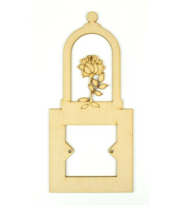Laser Cut Bell Jar with Rose Inside Light Switch Surround