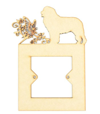 Laser Cut Dog Silhouette of your choice with Large Swirl, Butterfly & Flowers Light Switch Surround - Design 2