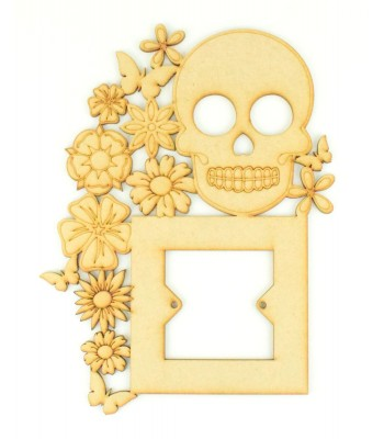 Laser Cut Skull with Flowers Tumbling Light Switch Surround