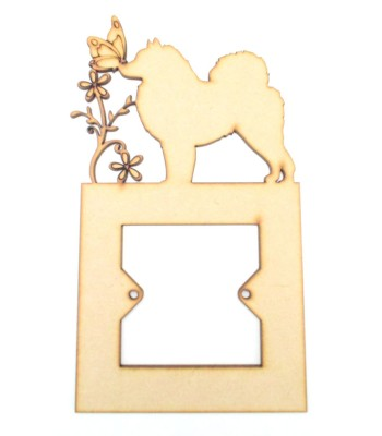 Laser Cut Dog Silhouette of your choice with Upright Swirl, Butterfly & Flowers Light Switch Surround - Design 1