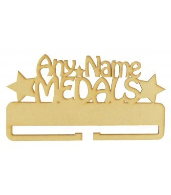 Laser Cut Personalised Large Medals Holder with Star Shapes