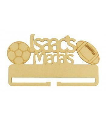 Laser Cut Personalised Large Medals Holder with Football and Rugby Ball Shapes