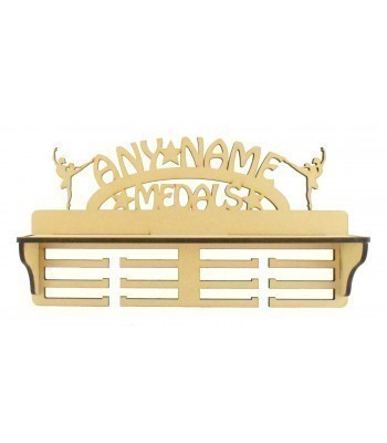 Laser Cut Personalised Extra Large Medals Holder with Shelf and Ballet Dancer Shapes
