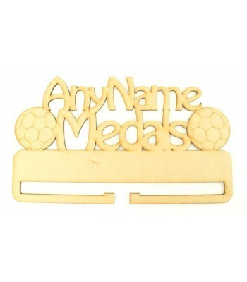Laser Cut Personalised Large Football Medals Holder with Etched Football Shapes