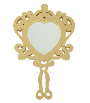 18mm MDF Fancy Princess Hand Held Mirror Shape - Size Options