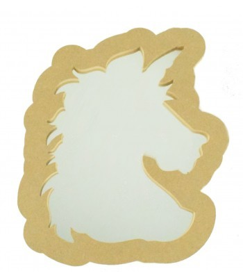 18mm Freestanding MDF Unicorn Head Shape Mirror - Size Options