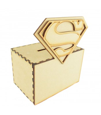 Laser cut 3D Superman Logo Superhero Money Box